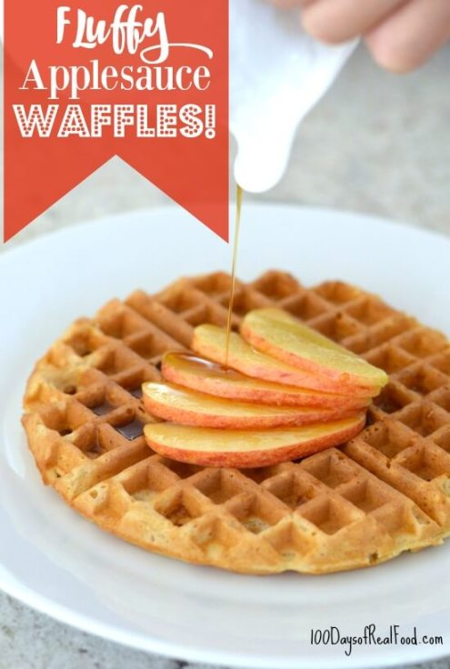 Fluffy-Applesauce-Waffles-on-100-Days-of-RealFood